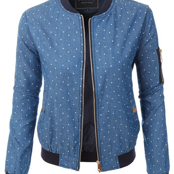 LE3NO Womens Lightweight Slim Fit Polka Dot Bomber Baseball Jacket (CLEARANCE)