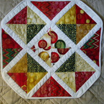 Holiday Christmas Hand quilted Table Topper