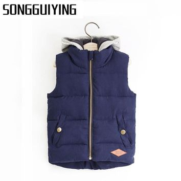 SONGGUIYING A33 Kids Children Thickened Thermal boys Vest Hooded Boy Baby Vest Fashion Zipper Hoody Vest Children's Boys Vests