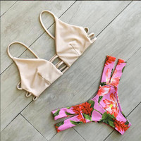 Print Sexy Backless Strap Bikini Set Swimsuit Swimwear