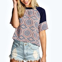 Samantha Rib Neck Tile Print Shell Top