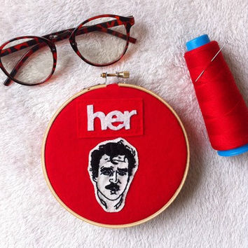 HER movie embroidery hoop art/ HER movie wall decor / Joaquin Phoenix movie poster