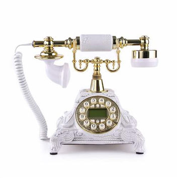 LNC White LNC Retro Vintage Antique Style Push Button Dial Desk Telephone Phone Home Living Room
