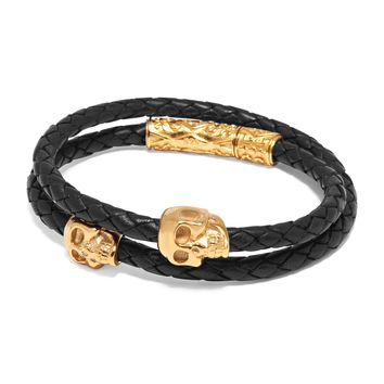 Men's Black Wrap-Around Leather Bracelet with Gold Skulls