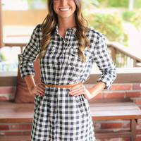 Last Call Plaid Shirt Dress - Black