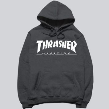 THRASHER Fashion trending flame sweater hat hooded couple lovers long-sleeved jacket Pink