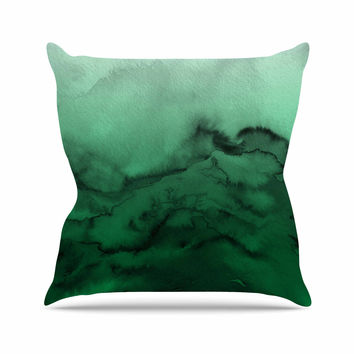 "Ebi Emporium ""Winter Waves 7"" Green Black Throw Pillow"