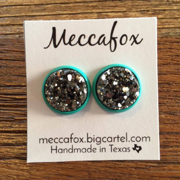 Mecca Fox Earrings- 12MM Charcoal Druzy in Turquoise Setting