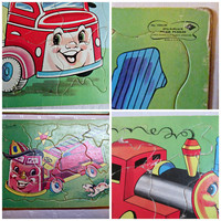 Childrens Inlaid Puzzles Train Fire Truck Dump Truck Three Vintage Sta N Place Hidden Objects