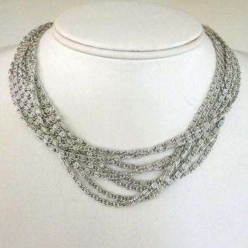"Vtg Sarah Coventry 15"" Silvery Cascade Silver Tone Scroll Link Chain Necklace"
