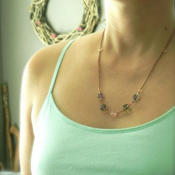 Wire Wrapped Fluorite Stone Necklace // Purple and Pink Necklace // Bohemian Copper Necklace