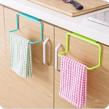 Over Door Tea Towel Rack Bar Hanging Holder Rail Organizer Bathroom Kitchen Cabinet Cupboard Hanger