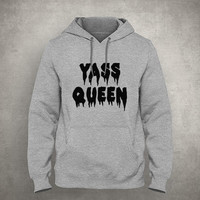 Yass queen - Dripping & melting style - Gray/White Unisex Hoodie - HOODIE-009