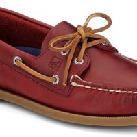 Sperry Top-Sider Authentic Original Cyclone Leather 2-Eye Boat Shoe Red, Size 12M  Men's Shoes