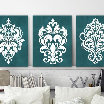 TEAL Damask Bedroom Wall Art, Teal CANVAS or Print Teal Damask Design Artwork, Teal Bathroom Wall Decor, Set of 3, Teal Home Decor Pictures