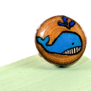 Whale Ring | Wood Burned Ring | Wooden Ring | Trending Whale Jewelry | Blue Whale Ring | Sycamore Tree Slice | Wood Slice Ring | Cute Whale