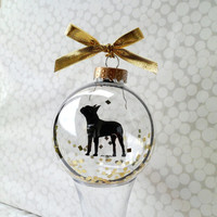 Dog Silhouette Ornament Globe / Boston Terrier