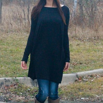 Long Sleeve Loose Tunic - Multiple Color Options