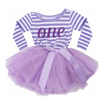 Baby Girls' Princess Dress Infant First Birthday Tutu Dress Cute Baby Girls Long Sleeve Ball Gown Vestidos Outfit 0-24M