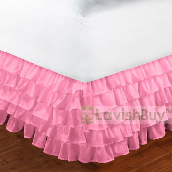 1000TC Egyptian Cotton Pink Multi Layered Ruffle Bed Skirt - Size Choice
