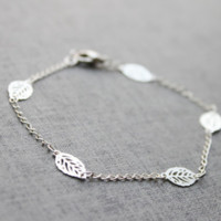 Summer wild metal leaves bracelet simple bracelet anklet dual use