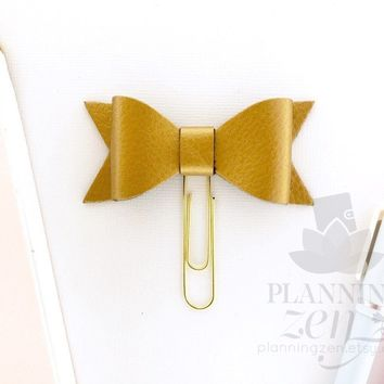 Old Gold Metallic Bow Planner Clip Faux Leather
