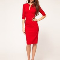 Hybrid | Hybrid Dress with 3/4 Sleeves and Keyhole Neck at ASOS