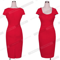 Summer Women Solid Color Short Sleeve Low Cut OL Work Business Dress Simple Design Sexy Slim Bodycon