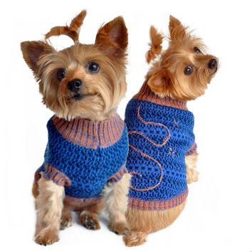 Blue and beige Starry Night Dog Sweater