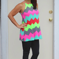Lime & Pink Colorful Chevron Tank Tunic