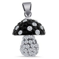 WOW! MUSHROOM 925 Sterling Silver Swarovski BLACK and Diamond CZ Crytals Round Beads Large 12mm Mushroom Shape Necklace, | AihaZone Store
