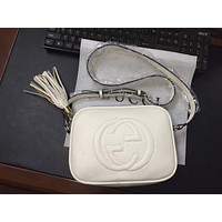 Gucci Fashion Ladies Shopping Pure Color Tassel Leather Shoulder Bag Crossbody Satchel White I-MYJSY-BB