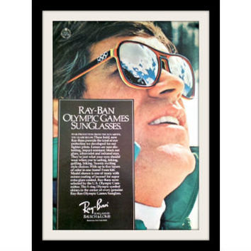 "1975 Ray Ban Sunglasses Ad ""Olympic Games"" Vintage Advertisement Print"