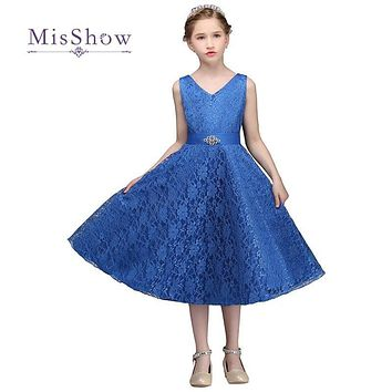 MisShow Pretty Princess Lace Flower Girl Dresses For Weddings 2017 Tea Length Girls Peagant Wedding Party Dress Graduation