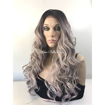 Cool Icy Ashy Blonde Balayage Ombré 4x4 SILK BASE Multi Parting Lace Front Wig