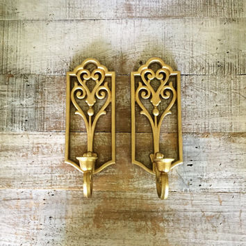 Wall Sconces Pair of Vintage Gold Candle Sconces Ornate Gold Candle Holder Vintage Plastic Wall Mount Sconces Hollywood Regency Gold Decor