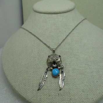 """Sterling Silver  Navajo Bear Head Necklace, with Feather,s And Turquoise,  18"""" chain, signed BL, Southwestern"""