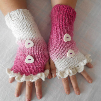 Pink White Gloves, Gloves, Women's Gloves, Mittens Turquoise, Wrist Warmers, Fingerless Gloves, Knitted Gloves, Gift Ideas, Button Gloves