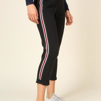 French Terry Sweats With Stripe Side Detail - Black