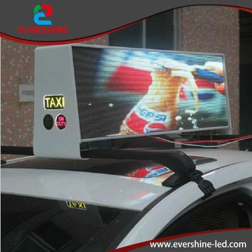 Taxi top advertising solar led video moving message display board