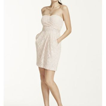 Short Strapless Lace Dress with Sequin Waist - Davids Bridal