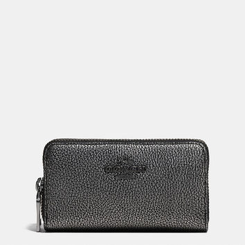 Small Double Zip Coin Case in Metallic Caviar Calf Leather