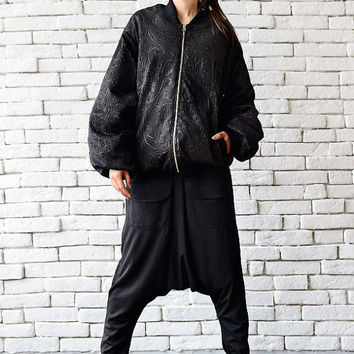 Neoprene Bomber Jacket/Black Loose Jacket/Oversize Black Tunic/Extravagant Pattern Zipper Jacket/Plus Size Casual Jacket/Short Loose Coat