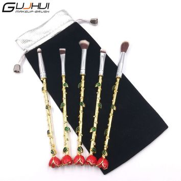 Newest Beauty And the Beast Makeup Brushes 5pcs Eyebrow Lip Brush  Tools Crystal Rose Flower Makeup Blush Eyeliner Women Gift