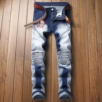 Men's Fashion Pants Strong Character Ruffle Embroidery Stretch Jeans [3444986740829]