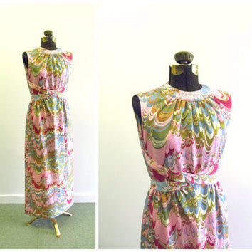 Vintage Maxi Dress Psychedelic 1960s Gathered by ItchforKitsch