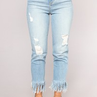 Shipwrecked High Rise Distressed Jeans - Light Blue Wash