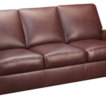 Charter Leather Sleeper Sofa Queen Bed with Pocket-Coils
