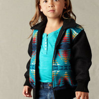 Kid's Bomber Jacket in Turquoise Blue & Black Pendleton ® Wool Fabric