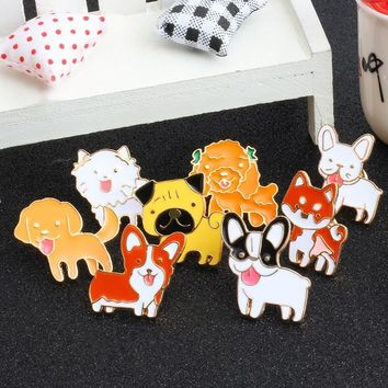 Trendy New Fashion Animal Pet Dog Enamel Pins Metal Brooches 8 Style Cute Dogs Brooch Badges Clothing Denim Jacket Lapel Pin Jewelry AT_94_13